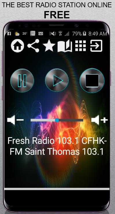Скриншот Fresh Radio 103.1 CFHK-FM Saint Thomas 103.1 FM CA