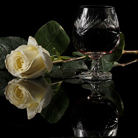 Cognac by Cristobal Garciaferro Rubio - Artistic Objects Cups, Plates & Utensils ( cup, rose, white, glass, coñac, cognan, leaf, leaves, pwcmirror-dq )
