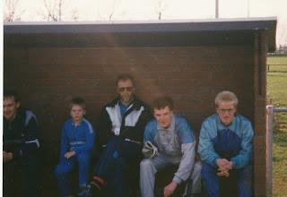 Photo: Vlnr Egbert v/d Giessen - Rik Mulder - Wim de Jong (trainer uit Meerkerk) - Arnold  Bouman - Wilco Schijf