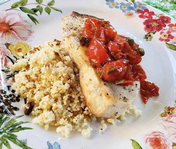 Couscous With Pistachios Served With Swordfish