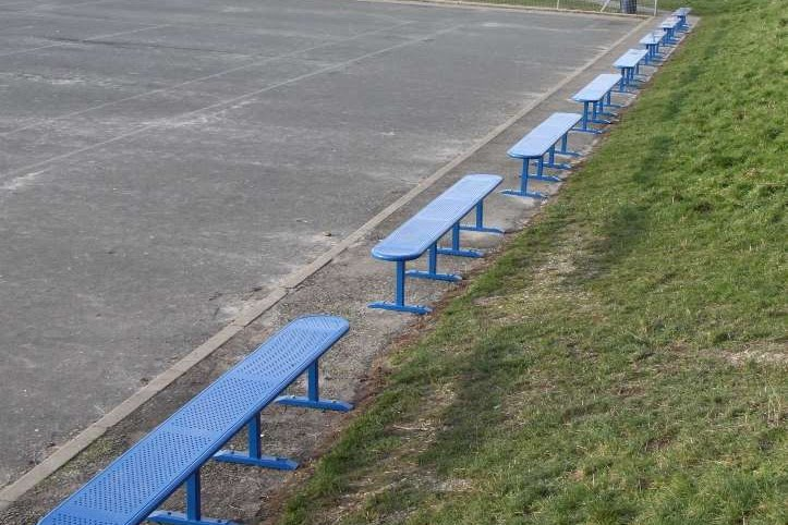 3 Meter perforated steel benches painted blue