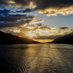 Sunset by Riddhima Chandra - Landscapes Sunsets & Sunrises ( mountains, alaska, sunset, sea, landscape,  )