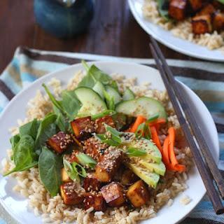 Baked Tofu Sushi Bowls with Wasabi Tahini Sauce