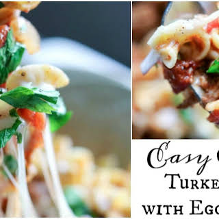 Easy Crock-Pot Turkey Chili with Egg Noodles.