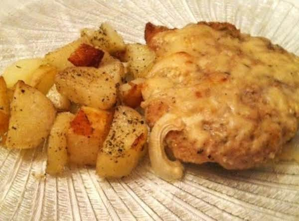 Onion Smothered Breaded Pork  With Mustard Sauce Recipe