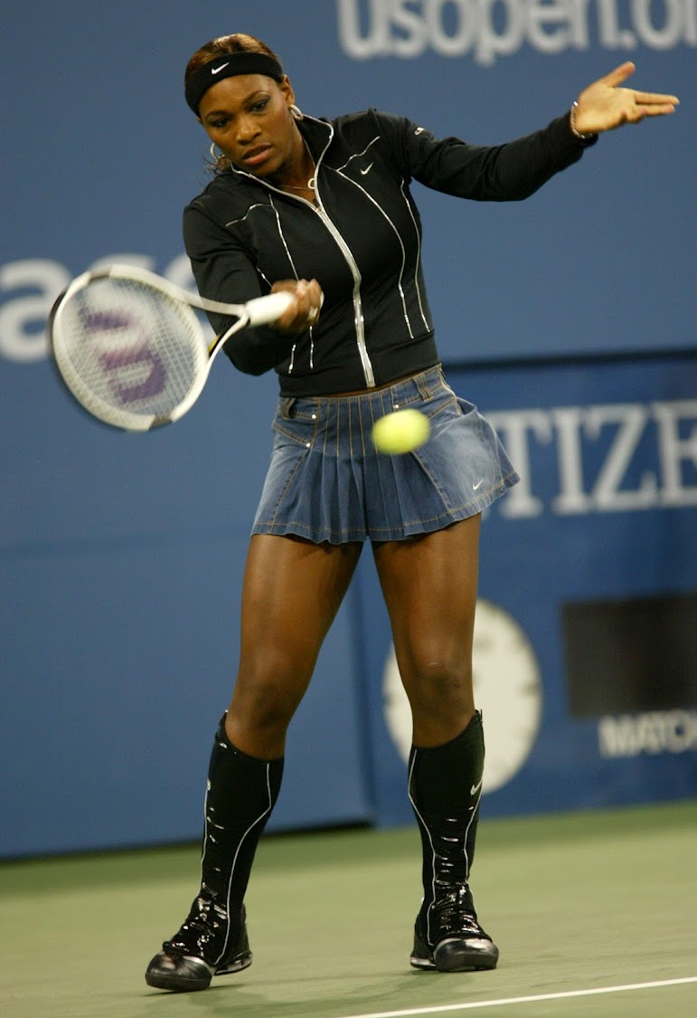 Serena Williams at the 2004 US Open in New York. (Photo by Ron Angle/WireImage)