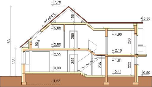 Dom przy Cyprysowej 11 - Przekrój
