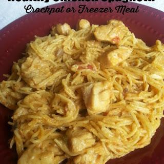 Healthy Chicken Spaghetti Crockpot Freezer Meal.