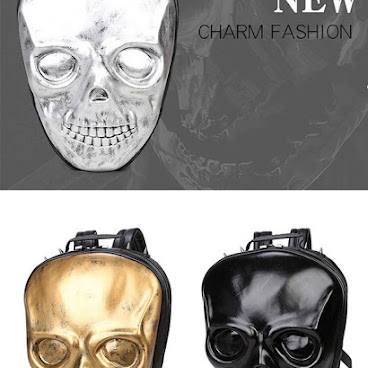 Europe stereoscopic 3d silicone skull leather backpack