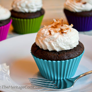 Coconut Mocha Cupcakes with Coconut Frosting.