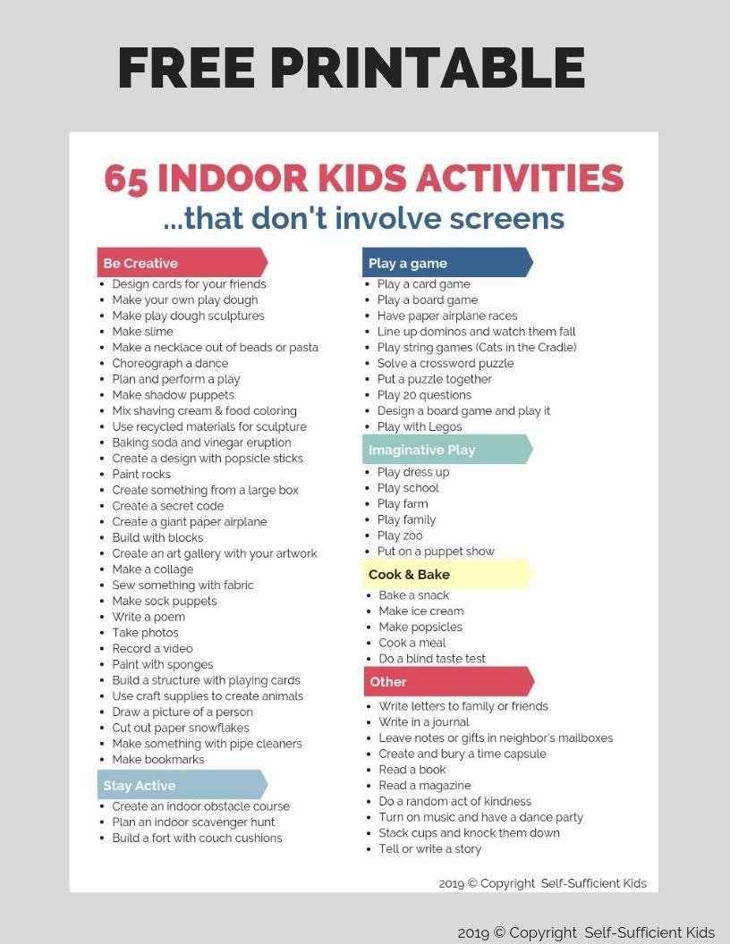 Free printable indoor activities rainy day