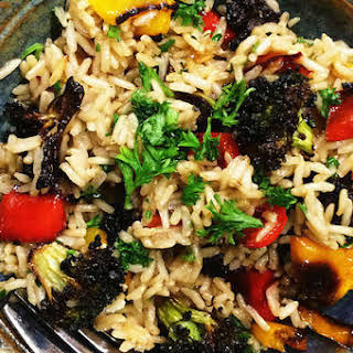 Easy Brown Rice Pilaf With Broccoli, Peppers And Parmesan.