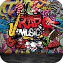 Rock graffiti street art theme icon