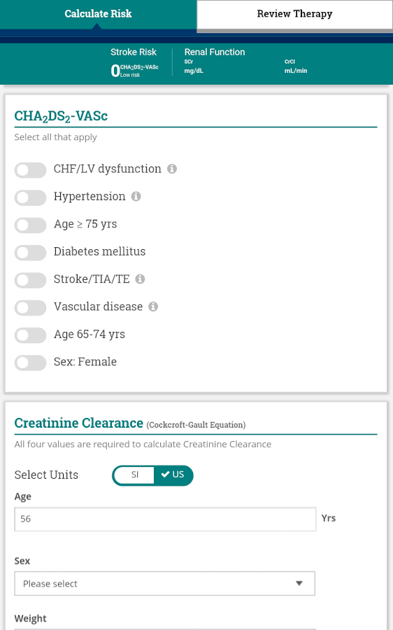 AnticoagEvaluator- screenshot