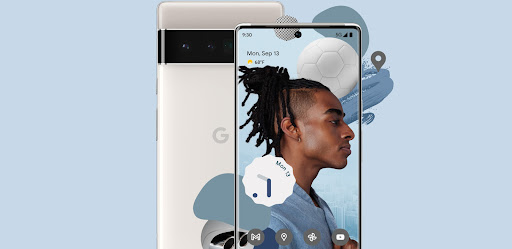 The new Pixel 6 showing off its sleek design.