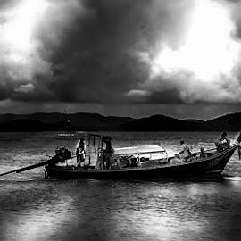 Phuket by Abdul Rehman - Black & White Landscapes ( clouds, thailand, sea, phuket, boat,  )