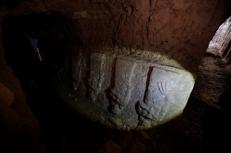 Artefacts and archaeological pieces are seen in a tunnel network running under the Mosque of Prophet Jonah, Nabi Yunus in Arabic in Mosul, Iraq. Ultra-hardline Islamists seized the mosque when they stormed through northern Iraq three years ago, bulldozing and dynamiting ancient sites and smashing statues and sculptures, declaring them all idolatrous. Picture: REUTERS/SUHAIB SALEM