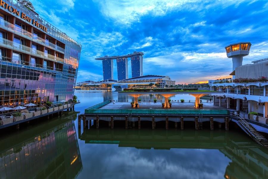 A Glimpse of Orange by CK Lam - City,  Street & Park  Skylines ( skyline, fullerton bay hotel, mbs, marina bay sands, cityscape, sunrise, custom house, singapore, marina bay, city )