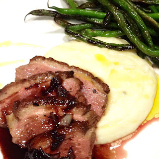 Pan Roasted Duck Breast with Port Wine Cherry Sauce.