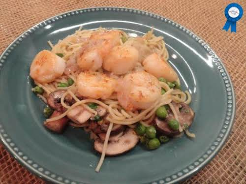 "Seared Scallops & Shrimp Over Angel Hair Pasta ""What's not to like..."