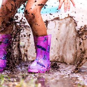 Glorious Mud by Gary Pore - Babies & Children Children Candids ( water, gumboots, wet, rain, muddy puddles )