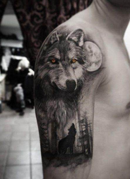 Wolf Tribal Tattoo Half Sleeve