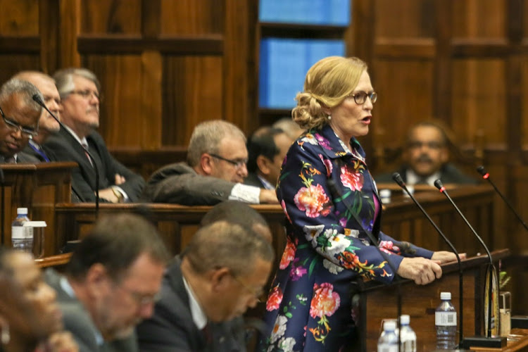 Western Cape Premier Helen Zille during her state of the province address on February 22 2018.