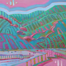 "Photo: ""Spring Terrain"", acrylic on canvas, 12"" x 12"",by Nancy Roberts, copyright 2016."