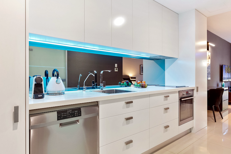 Fully equipped kitchen at Brook Street suites in North Shore, Sydney