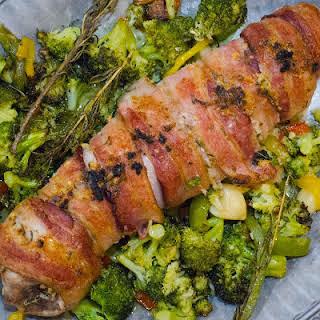 Bacon Wrapped Pork Tenderloin with a Garlic Rosemary Rub.