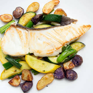 Halibut with Summer Squash and Roasted Potatoes.