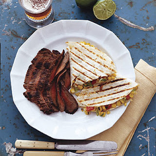 Flank Steak with Corn and Red Pepper Quesadillas