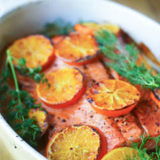 Vodka and Clementine Glazed Salmon.