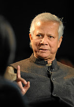 Photo: DAVOS/SWITZERLAND, 25JAN12 - Muhammad Yunus, Chairman, Yunus Centre, Bangladesh makes a point during the session 'An Insight, An Idea with Muhammad Yunus' at the Annual Meeting 2012 of the World Economic Forum at the congress centre in Davos, Switzerland, January 25, 2012.Copyright by World Economic Forumswiss-image.ch/Photo by Michael Wuertenberg