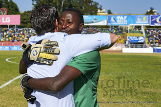 Photo: Coach McKinstry congratulates Eric NDAYISHIMIYE (1) for his penalty shoot-out save  [Rwanda vs Sudan, CECAFA 2015, Semi final, 3 Dec 2015 in Addis Ababa, Ethiopia.  Photo © Darren McKinstry 2015, www.XtraTimeSports.net]