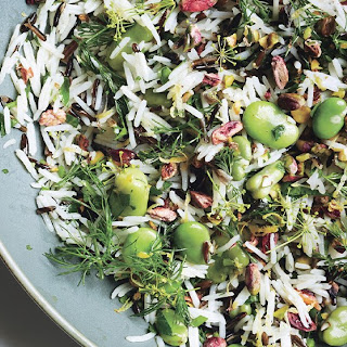 Rice Salad with Fava Beans and Pistachios.