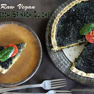 Raw Vegan Mushroom Spinach Quiche.