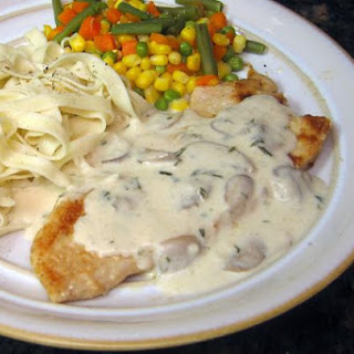 Turkey Cutlets with Creamy Mushroom and Wine Sauce