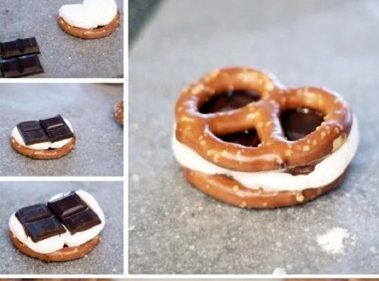 Place pretzels on microwave dish, cut marshmallows and place on top. Place chocolate candy...
