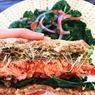 Garlic Herb Salmon Sandwich.
