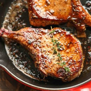Easy Pork Chops with Sweet and Sour Glaze.