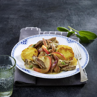 Pork, Apple and Sage with Potato Cakes