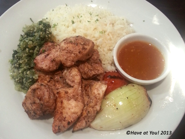 chicken kebab with buttered rice