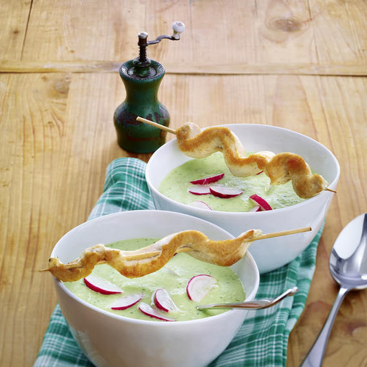 Chilled Cucumber Soup with Chicken Skewers Recipe