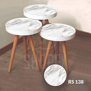 Set masute de cafea, design marmura, diametru 39 cm - RS138