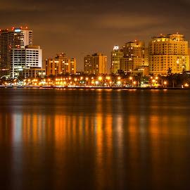 Rivera Beach Fla by Carl Albro - City,  Street & Park  Night ( reflection, waterscape, night, cityscape, nightscape )
