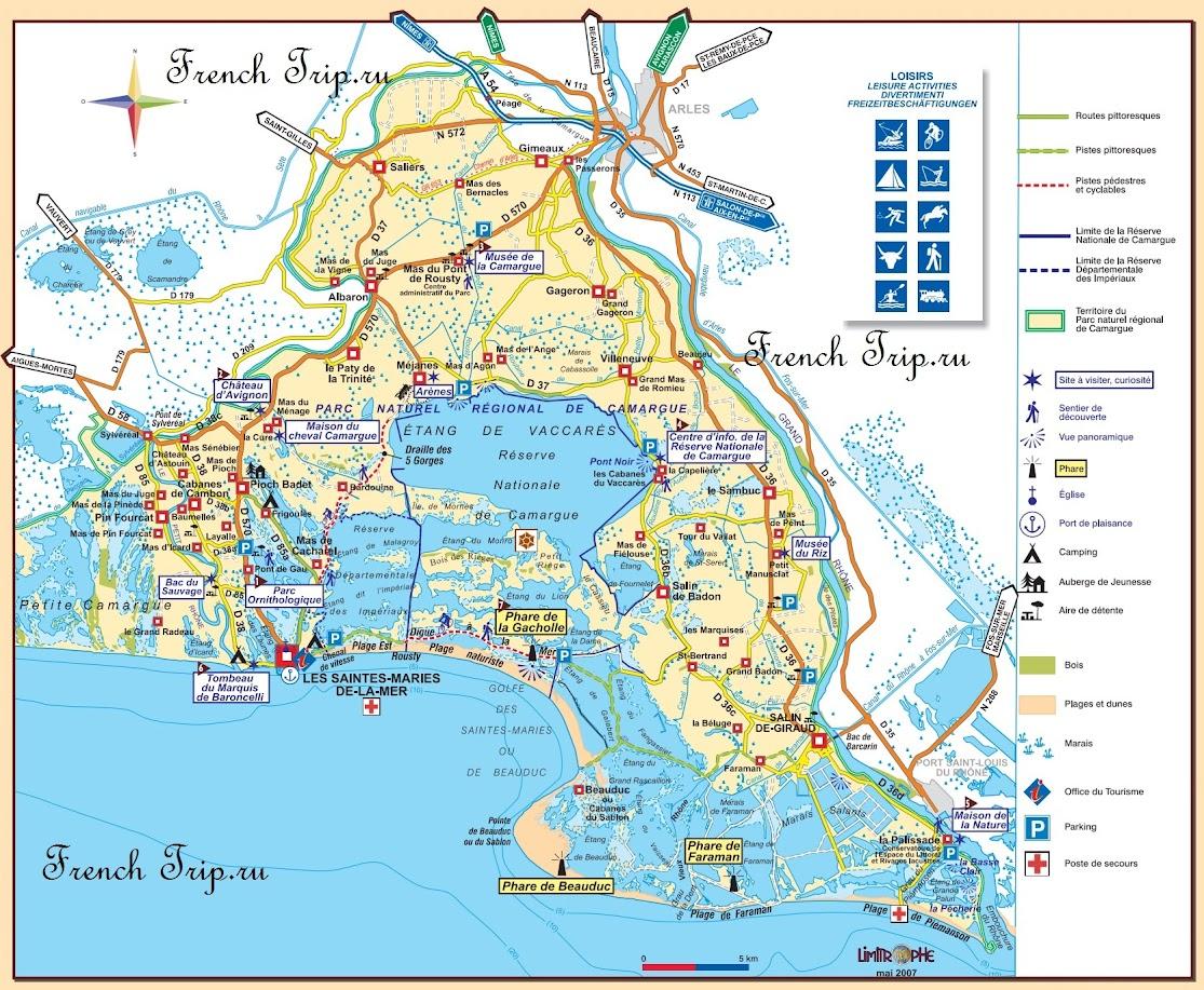 Карта Камарга - Природный парк Камарг (Camargue), Прованс, Франция - что посмотреть, карта Камарга, достопримечательности Камарга, экскурсии по Камаргу, круизы, маршруты