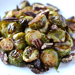 Honey Roasted Brussel Sprouts with Toasted Pecans.