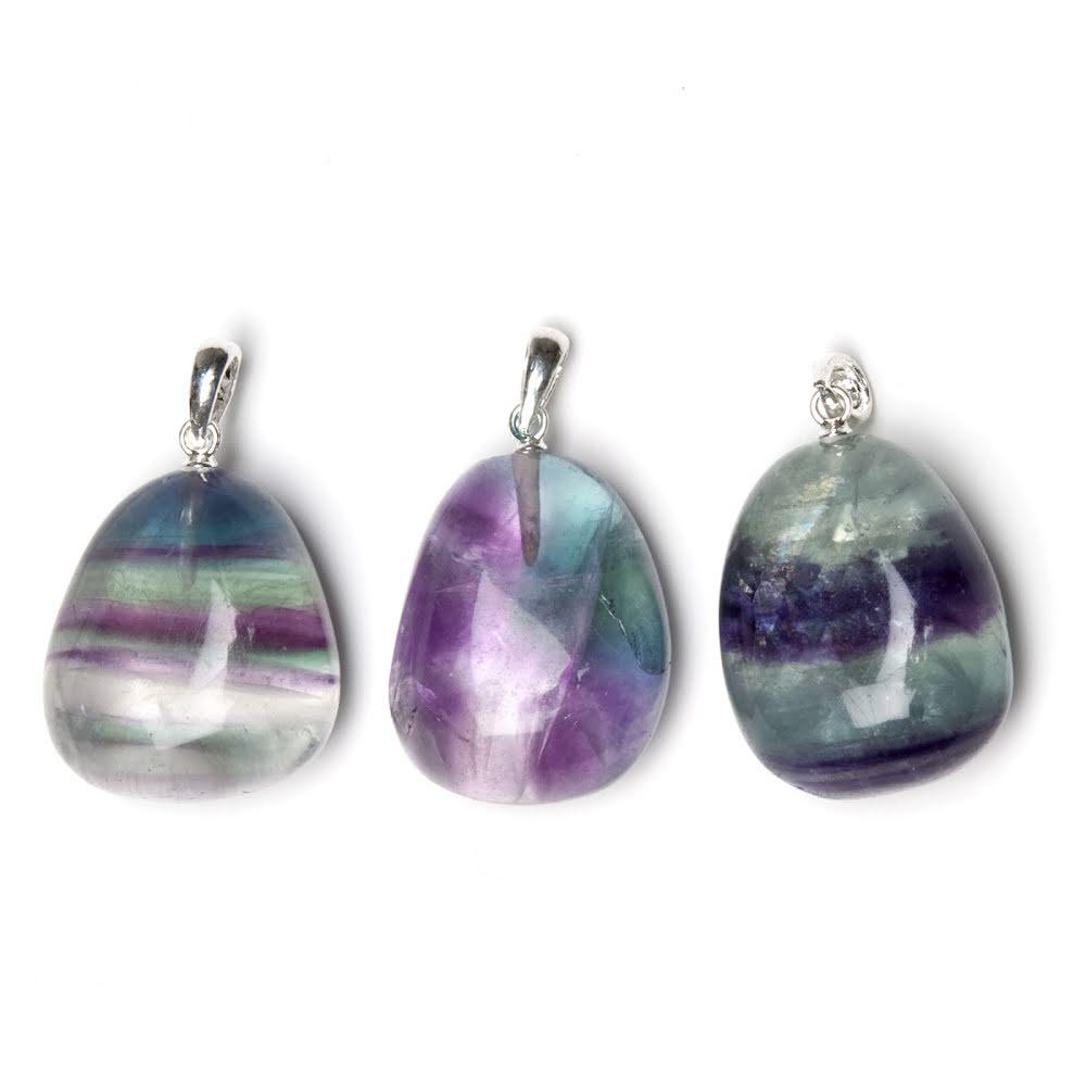 Fluorit regnbågs hänge med silverfäste