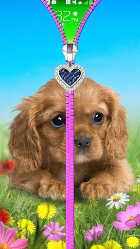Puppy lock screen. Zipper. ss2